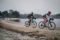 later winner David Van Der Poel (NED/Beobank Corendon) and Tim Merlier (BEL/Crelan Charles) leading the race. <br /> <br /> <br /> men's elite race<br /> Lampiris Zilvermeercross Mol / Belgium 2017