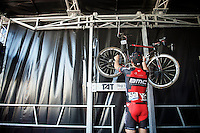Thor Hushovd (NOR/BMC) hanging up his wheels on the podium after finishing his farewell race<br /> <br /> GP Impanis 2014
