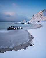 Snow covered Vik beach in winter, Vestvågøy, Lofoten Islands, Norway