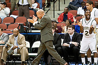 February 25, 2010:    Cliff Warren, Jacksonville head coach celebrates on the sideline during Atlantic Sun Conference action between the Jacksonville Dolphins and the Campbell Camels at Veterans Memorial Arena in Jacksonville, Florida.  Jacksonville defeated Campbell 65-52.