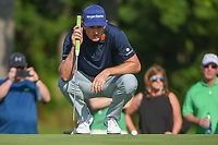 Justin Rose (GBR) looks over his long birdie putt on 2 during round 3 of the 2019 Charles Schwab Challenge, Colonial Country Club, Ft. Worth, Texas,  USA. 5/25/2019.<br /> Picture: Golffile | Ken Murray<br /> <br /> All photo usage must carry mandatory copyright credit (© Golffile | Ken Murray)