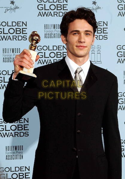 JAMES FRANCO..Golden Globe Awards 2002..Ref: AW..awards winner, black suit, half length, half-length..www.capitalpictures.com..sales@capitalpictures.com..©Capital Pictures