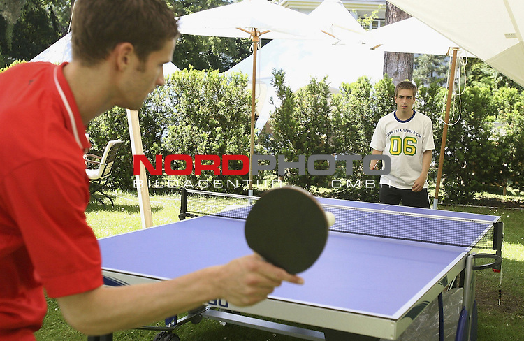 FIFA WM 2006 - BERLIN - JUNE 11:  <br /> <br />  Arne Friedrich (L) plays table tennis with Philipp Lahm (R) of Germany at the Hotel Garden during a rest day of the Germany National Team at the squad hotel on June 11, 2006 in Berlin, Germany.<br /> <br /> Foto &copy; nordphoto