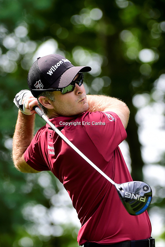 Saturday, September 3, 2016:  Kevin Streelman watches the flight of his ball from the 9th tee during the second round of the Deutsche Bank Championship tournament held at the Tournament Players Club, in Norton, Massachusetts.  Eric Canha/Cal Sport Media