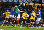 Montrose keeper John Gibson punches clear as Rangers apply pressure