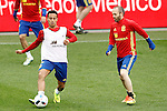 Spain's Thiago Alcantara (l) and Andres Iniesta during training session previous friendly match. May 31,2016.(ALTERPHOTOS/Acero)