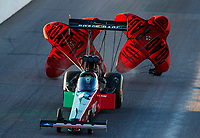 Feb 24, 2018; Chandler, AZ, USA; NHRA top fuel driver Kebin Kinsley during qualifying for the Arizona Nationals at Wild Horse Pass Motorsports Park. Mandatory Credit: Mark J. Rebilas-USA TODAY Sports