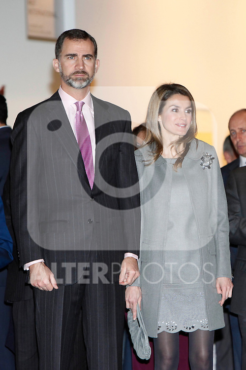 Prince Felipe of Spain and Princess Letizia of Spain  attend the inauguration of ARCO Contemporary Art Fair 2013 at Ifema. February 14, 2013. (ALTERPHOTOS/Caro Marin)