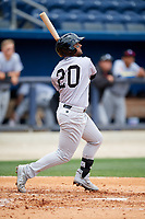 Jackson Generals left fielder Jamie Westbrook (20) follows through on a swing during a game against the Biloxi Shuckers on April 23, 2017 at MGM Park in Biloxi, Mississippi.  Biloxi defeated Jackson 3-2.  (Mike Janes/Four Seam Images)