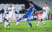 28th September 2017, Partizan Stadium, Belgrade, Serbia; UEFA Europa League group stage, Partizan versus Dynamo Kiev; Midfielder Marko Jankovic of Partizan fights for the ball against Midfielder Derlis Gonzalez of Dynamo Kiev