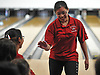 Jackie Tang of Syosset gets congratulated by teammates after making a spare in the Nassau County varsity girls bowling large schools championship at AMF Garden City Lanes  on Saturday, Feb. 3, 2018.