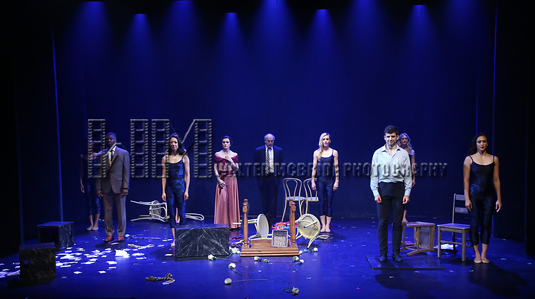 Teagle F. Bougere, Irina Dvorovenko, Peter Friedman and Tony Yazbeck with cast during the Opening Night Performance Curtain Call bows  for  'The Beast In The Jungle' at The Vineyard Theatre on May 23, 2018 in New York City.