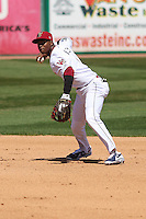 Wisconsin Timber Rattlers shortstop Luis Aviles (6) throws to first during a game against the Cedar Rapids Kernels on April 23rd, 2015 at Fox Cities Stadium in Appleton, Wisconsin.  Cedar Rapids defeated Wisconsin 3-0.  (Brad Krause/Four Seam Images)
