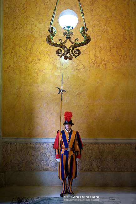 Pontifical Swiss Guard Apostolic Palace the Vatican.The Corps of the Pontifical Swiss Guard or Swiss Guard,Guardia Svizzera Pontificia,responsible for the safety of the Pope, including the security of the Apostolic Palace. It serves as the de facto military of Vatican City..14/11/2009.