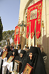 Israel, Jerusalem, the Orthodox Ascension Day ceremony at the Russian Orthodox Church of the Ascension on the Mount of Olives