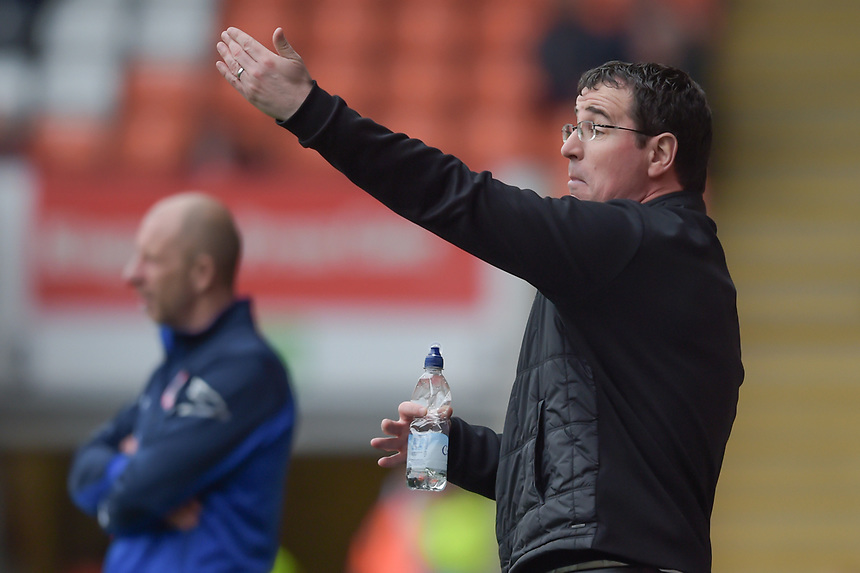 Blackpool manager Gary Bowyer  gestures to his players<br /> <br /> Photographer Terry Donnelly/CameraSport<br /> <br /> The EFL Sky Bet League Two - Blackpool v Accrington Stanley - Friday 14th April 2017 - Bloomfield Road - Blackpool<br /> <br /> World Copyright &copy; 2017 CameraSport. All rights reserved. 43 Linden Ave. Countesthorpe. Leicester. England. LE8 5PG - Tel: +44 (0) 116 277 4147 - admin@camerasport.com - www.camerasport.com