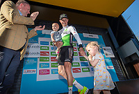 Picture by SWpix.com - 06/05/2018 - Cycling - 2018 Tour de Yorkshire - Stage 4: Halifax to Leeds - Yorkshire, England - Serge Pauwels with his daughters and Sir Gary Verity.