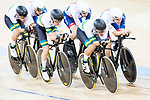 The team of Australia with Nathan Hart, Cameron Meyer, Alexander Porter and Sam Welsford compete in the Men's Team Pursuit - Qualifying match as part of the 2017 UCI Track Cycling World Championships on 12 April 2017, in Hong Kong Velodrome, Hong Kong, China. Photo by Victor Fraile / Power Sport Images