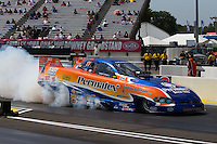 Aug. 31, 2013; Clermont, IN, USA: NHRA top alcohol funny car driver Todd Veney during qualifying for the US Nationals at Lucas Oil Raceway. Mandatory Credit: Mark J. Rebilas-