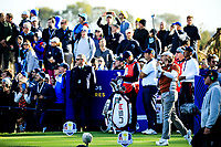 Tommy Fleetwood (Team Europe) during the Saturday Fourballs at the Ryder Cup, Le Golf National, Paris, France. 29/09/2018.<br /> Picture Phil Inglis / Golffile.ie<br /> <br /> All photo usage must carry mandatory copyright credit (© Golffile | Phil Inglis)