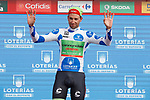 Davide Villela (ITA) Cannondale Drapac retains the mountains Polka Dot Jersey on the podium at the end of Stage 9 of the 2017 La Vuelta, running 174km from Orihuela Ciudad del Poeta Miguel Hernandez to Cumbre del Sol, El Poble Nou de Benitatxell, Spain. 27th August 2017.<br /> Picture: Unipublic/&copy;photogomezsport | Cyclefile<br /> <br /> <br /> All photos usage must carry mandatory copyright credit (&copy; Cyclefile | Unipublic/&copy;photogomezsport)