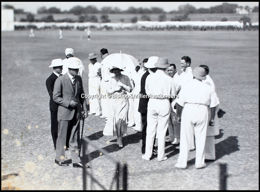 BNPS.co.uk (01202 558833)<br /> Pic: Bishop&MillerAuctioneers/BNPS<br /> <br /> The Viceroy of India talks to Mr Dixon.<br /> <br /> A fascinating album of photographs showing the first England cricket tour of India and the last for controversial 'Bodyline' captain Douglas Jardine has been discovered.<br /> <br /> The rare black and white images show the England star leading the national side at the new cricket ground in Delhi that the colonial British had built in 1933 - the same year as the brutal Ashes series.<br /> <br /> Jardine is featured in many photos as is the Viceroy of India. The album is being sold by auctioneers Bishop and Miller of Suffolk.