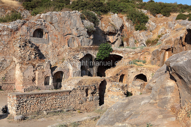 Cave of the Seven Sleepers, Ephesus, Izmir, Turkey. According to legend, 7 early Christians who were living in Ephesus during the reign of the Roman Emperor Decius, fell asleep in this cave c. 250 AD and awoke 200 years later during the reign of Emperor Theodosius II. They were initially arrested but subsequently revered as holy people and the cave became a pilgrimage site. Another version tells of them being persecuted by Decius and locked up in the cave to die. A further version in the Quran refers to them as the People of the Cave. Picture by Manuel Cohen