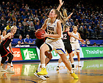 BROOKINGS, SD - FEBRUARY 8: Tagyn Larson #24 of the South Dakota State Jackrabbits drives to the basket against the Omaha Mavericks at Frost Arena February 8, 2020 in Brookings, South Dakota. (Photo by Dave Eggen/Inertia)