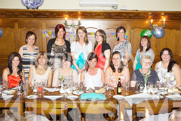 Birthday celebrations for Abbeyfeale local Kathreine Gavin(centre) pictured here with family and friends last Saturday night in Leen's Hotel, Abbeyfeale. F l-r: Mary Woulfe, Siobhan Kennedy, Claire Guiney, Kathreine Gavin, Deborah Colbert, Joan O'Connor. B l-r: Marie O'Connor, Marie Twomey, Kathleen Cronin, Ann Marie O'Connor, Aileen O'Connor and Kathleen Broderick.