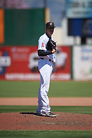 Inland Empire 66ers relief pitcher Nate Bertness (22) during a California League game against the Modesto Nuts on April 10, 2019 at San Manuel Stadium in San Bernardino, California. Inland Empire defeated Modesto 5-4 in 13 innings. (Zachary Lucy/Four Seam Images)