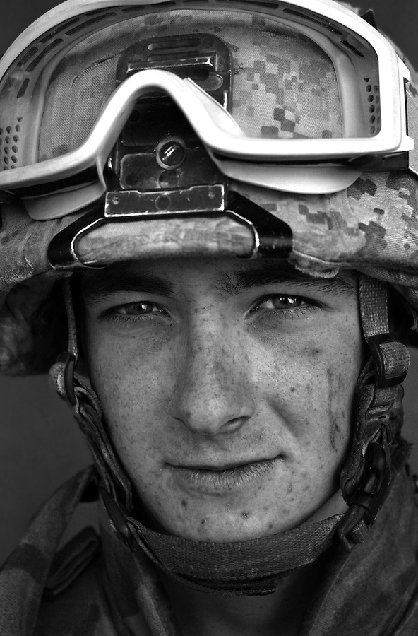 PFC Matt Medhat, 19, Downer's Grove, Illinois, Weapons Platoon, Kilo Co., 3rd Battalion 1st Marines, 1st Marine Division, United States Marine Corps, at the company's firm base in Haditha, Iraq on Thursday Oct. 27, 2005.