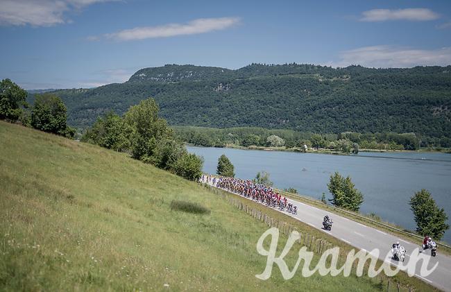 peloton by the lake<br /> <br /> Stage 6: Le parc des oiseaux/Villars-Les-Dombes &rsaquo; La Motte-Servolex (147km)<br /> 69th Crit&eacute;rium du Dauphin&eacute; 2017