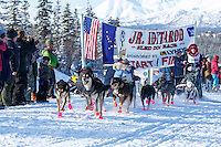 Katie Deits leaves the start line of the 2015 Junior Iditarod on the Denali Highway on Sunday March 1, 2015.<br /> <br /> (C) Jeff Schultz/SchultzPhoto.com - ALL RIGHTS RESERVED<br />  DUPLICATION  PROHIBITED  WITHOUT  PERMISSION