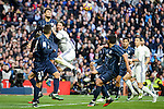 "Real Madrid's Sergio Ramos, Cristiano Ronaldo and Karim Benzema and Malaga CF's Jonathan ""Jony"" Rodriguez during La Liga match between Real Madrid and Malaga CF at Santiago Bernabeu Stadium in Madrid, Spain. January 21, 2017. (ALTERPHOTOS/BorjaB.Hojas)"