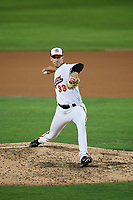 Bowie Baysox relief pitcher Tanner Chleborad (33) delivers a pitch during the second game of a doubleheader against the Trenton Thunder on June 13, 2018 at Prince George's Stadium in Bowie, Maryland.  Bowie defeated Trenton 10-1.  (Mike Janes/Four Seam Images)