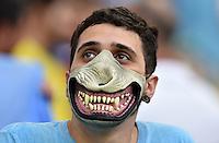 FUSSBALL WM 2014                ACHTELFINALE Kolumbien - Uruguay                  28.06.2014 Fans aus Uruguay thematisieren die Beissattacke von Luis Suarez