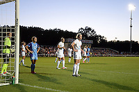 Kansas City, MO - Saturday May 28, 2016: FC Kansas City goalkeeper Nicole Barnhart (18), midfielder Yael Averbuch (10), and defender Alex Arlitt (5) ready for a corner kick against Orlando Pride forward Samantha Witteman (26) during the second half. FC Kansas City defeated Orlando Pride 2-0 during a regular season National Women's Soccer League (NWSL) match at Swope Soccer Village.