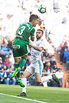 Real Madrid Borja Mayoral and Leganes Unai Bustinza during La Liga match between Real Madrid and Leganes at Santiago Bernabeu Stadium in Madrid, Spain. April 28, 2018. (ALTERPHOTOS/Borja B.Hojas)