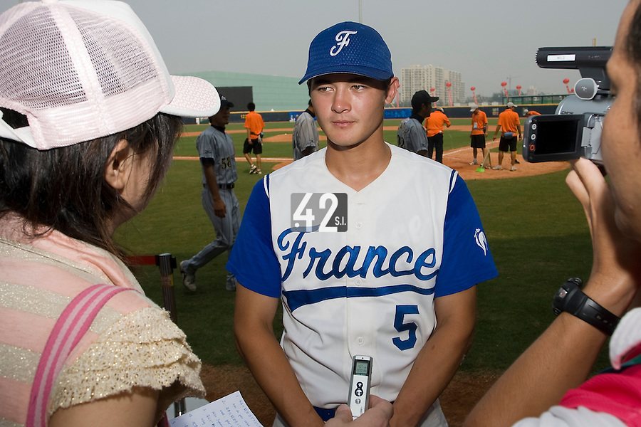 19 August 2007: Center Field #5 Kenji Hagiwara answers journalists after the Japan 4-3 victory over France in the Good Luck Beijing International baseball tournament (olympic test event) at the Wukesong Baseball Field in Beijing, China.