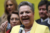 BOGOTA -COLOMBIA. 14-03-2014. Las candidatas presidenciales Clara Lopez  (Foto) y Aida Abella  de la izquierda colombiana se unieron como formula para los comicios presidenciales 2014 -2018 ,su inscripcion se hizo ante  el registrador nacional Carlos Ariel Sanchez  / The presidential candidate Clara Lopez (Photo) and  Aida Abella  of the Colombian left joined as formulated for the presidential election 2014 -2018, his registration was made before the National Registrar Carlos Ariel Sanchez.   Photo: VizzorImage/ Felipe Caicedo / Staff