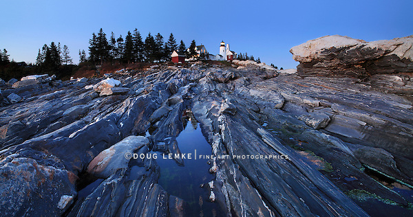 The Pre Dawn Night Is Turned To Daylight In This Time Exposure Of The Rugged Sea Coast At The Foot Of The Pemaquid Point Lighthouse, Bristol Maine, USA