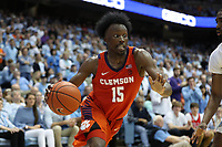CHAPEL HILL, NC - JANUARY 11: John Newman III #15 of Clemson University drives with the ball during a game between Clemson and North Carolina at Dean E. Smith Center on January 11, 2020 in Chapel Hill, North Carolina.