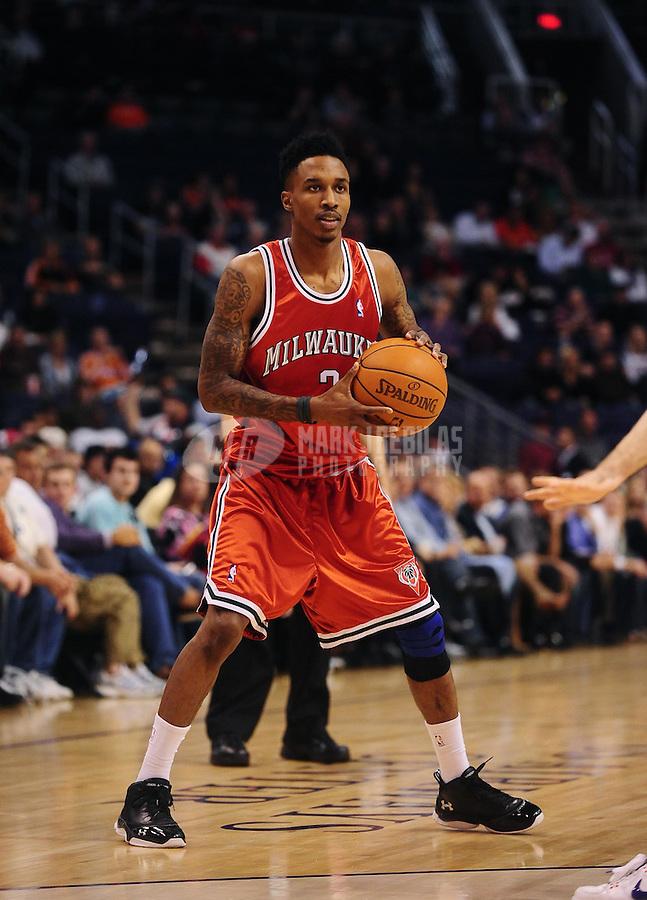 Jan. 11, 2010; Phoenix, AZ, USA; Milwaukee Bucks guard (3) Brandon Jennings against the Phoenix Suns at the US Airways Center. The Suns defeated the Bucks 105-101. Mandatory Credit: Mark J. Rebilas-