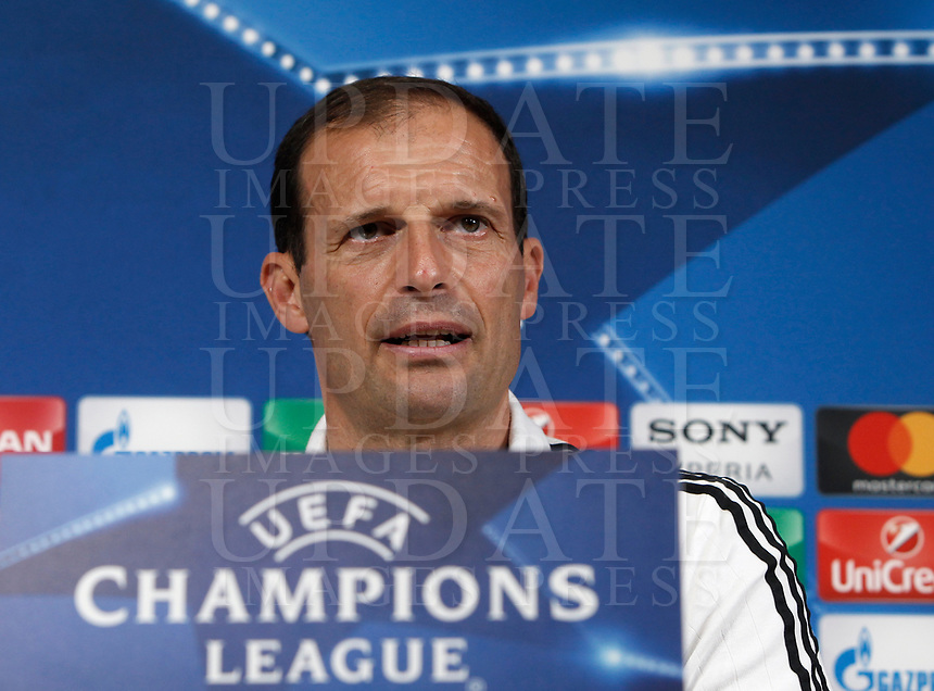 Football Soccer - Juventus Press conference- Uefa Champions League, Juventus stadium, Turin, Italy, april 10, 2017.<br /> Juventus' coach Massimiliano Allegri speaks during a news conference before the match against Barcelona.