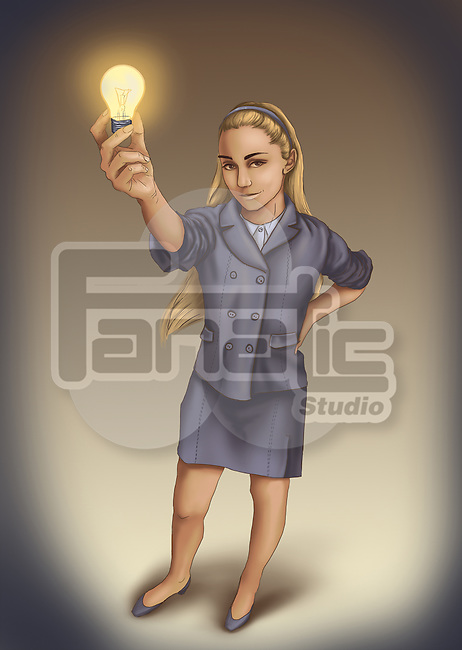 Confident businesswoman holding bulb depicting concept of innovative ideas