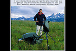 Being a good photographers is just the half of it, you also have to survive and not get lost. This was before GPS and cell phones. It was easy to be out of touch with civilization for 4 to 5 days.  John and view camera, staying dry in the San Juan Mountains in southwest Colorado USA.