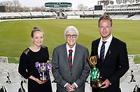 Megan Fairclough (Lancashire womens captain), Sir Michael Parkinson and Tom Westley of Essex pose for a photograph during the Lord's Taverners Presentation at Lord's Cricket Ground on 12th March 2018