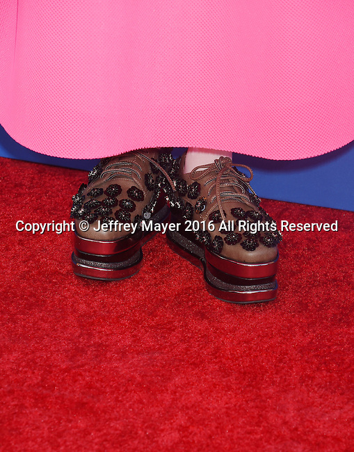 LOS ANGELES, CA - DECEMBER 03: Model/singer Kyary Pamyu Pamyu, shoe detail, at the Premiere Of Universal Pictures' 'Sing' at the Microsoft Theater at L.A. Live on December 3, 2016 in Los Angeles, California.