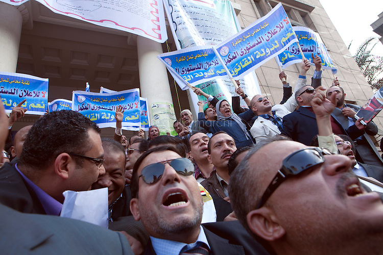 EGYPT / Cairo / 27.11.2012 / Judges and lawyers demonstrate against the president Morsi's decree, in front of Lawyers' syndicate.<br /> <br /> © Giulia Marchi