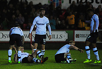 Preston North End's Jordan Hugill celebrates scoring his sides equalising goal to make the score 1-1<br /> <br /> Photographer Kevin Barnes/CameraSport<br /> <br /> The Carabao Cup - Accrington Stanley v Preston North End - Tuesday 8th August 2017 - Crown Ground - Accrington<br />  <br /> World Copyright &copy; 2017 CameraSport. All rights reserved. 43 Linden Ave. Countesthorpe. Leicester. England. LE8 5PG - Tel: +44 (0) 116 277 4147 - admin@camerasport.com - www.camerasport.com